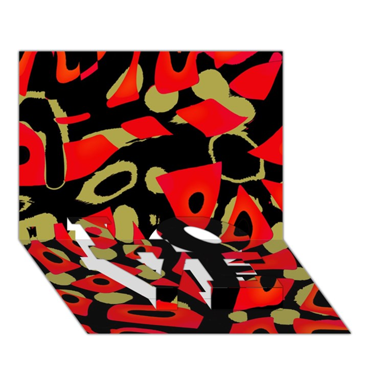 Red artistic design LOVE Bottom 3D Greeting Card (7x5)