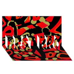 Red Artistic Design Best Bro 3d Greeting Card (8x4)