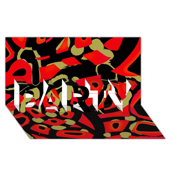Red artistic design PARTY 3D Greeting Card (8x4)