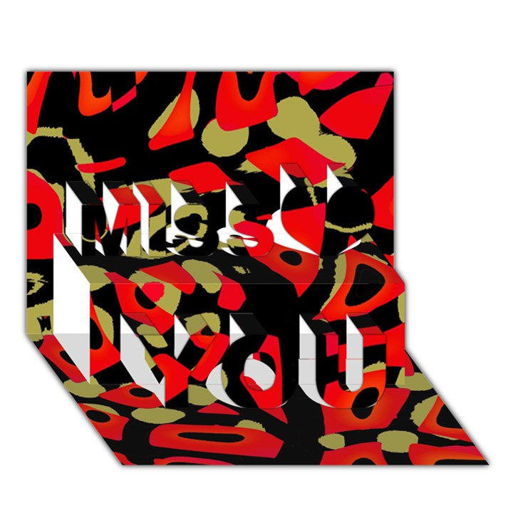 Red artistic design Miss You 3D Greeting Card (7x5)