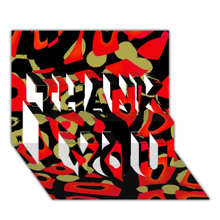 Red artistic design THANK YOU 3D Greeting Card (7x5)