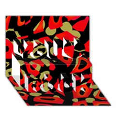 Red Artistic Design You Rock 3d Greeting Card (7x5)