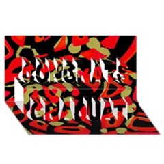 Red Artistic Design Congrats Graduate 3d Greeting Card (8x4)