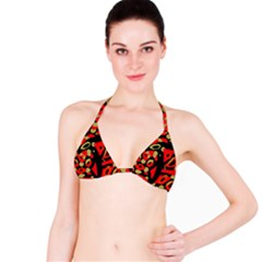 Red Artistic Design Bikini Top