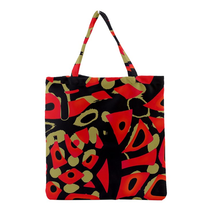 Red artistic design Grocery Tote Bag