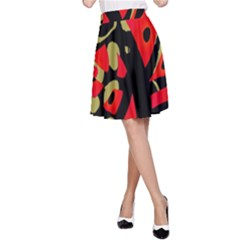 Red Artistic Design A Line Skirt