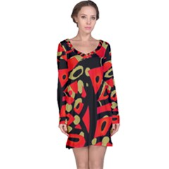 Red Artistic Design Long Sleeve Nightdress
