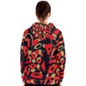 Red artistic design Women s Zipper Hoodie View2