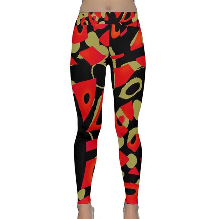 Red artistic design Yoga Leggings