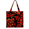 Red artistic design Zipper Grocery Tote Bag View2