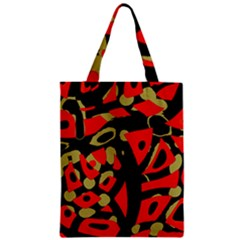 Red Artistic Design Zipper Classic Tote Bag