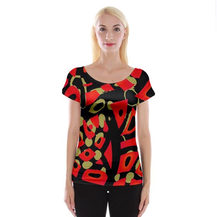 Red artistic design Women s Cap Sleeve Top