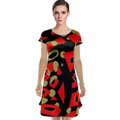 Red artistic design Cap Sleeve Nightdress