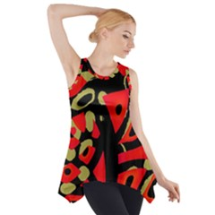 Red Artistic Design Side Drop Tank Tunic