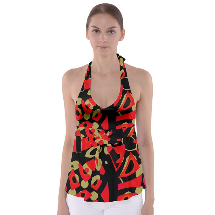 Red artistic design Babydoll Tankini Top