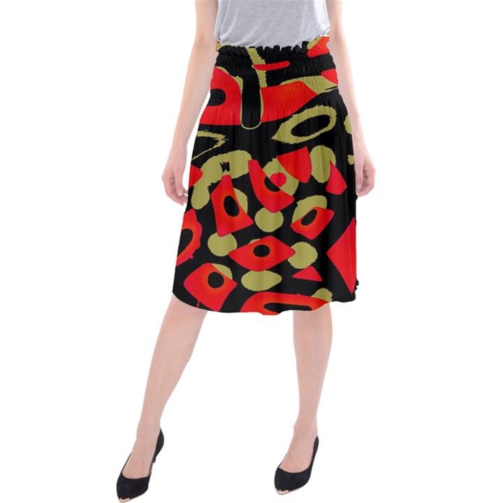 Red artistic design Midi Beach Skirt