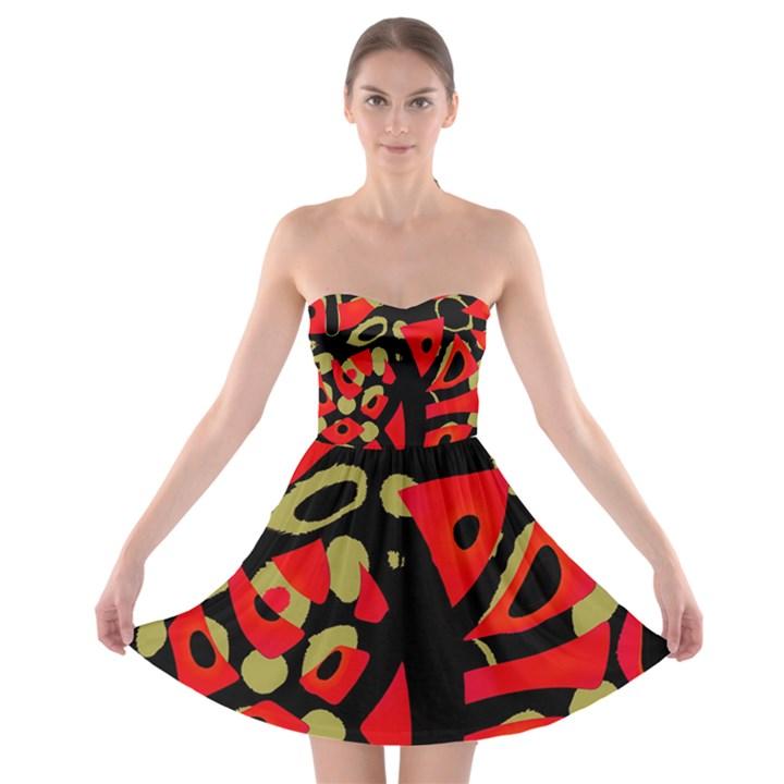 Red artistic design Strapless Bra Top Dress