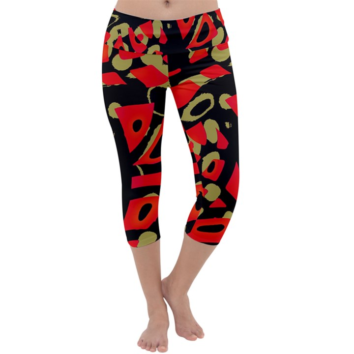 Red artistic design Capri Yoga Leggings
