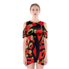 Red Artistic Design Cutout Shoulder Dress
