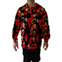 Red artistic design Hooded Wind Breaker (Kids) View1