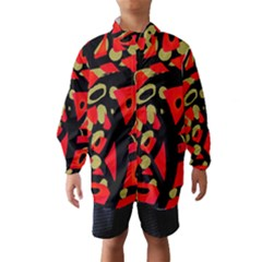 Red Artistic Design Wind Breaker (kids)