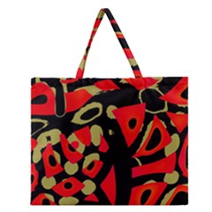 Red Artistic Design Zipper Large Tote Bag