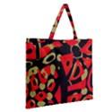 Red artistic design Zipper Large Tote Bag View2