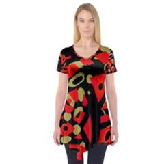 Red Artistic Design Short Sleeve Tunic