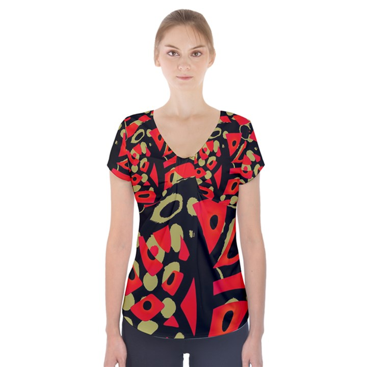 Red artistic design Short Sleeve Front Detail Top