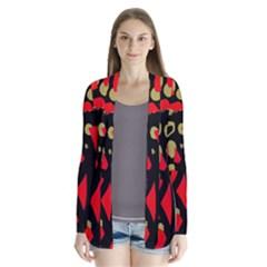 Red artistic design Drape Collar Cardigan
