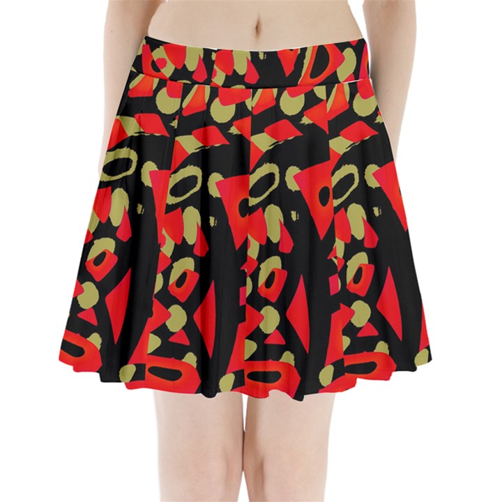 Red artistic design Pleated Mini Skirt