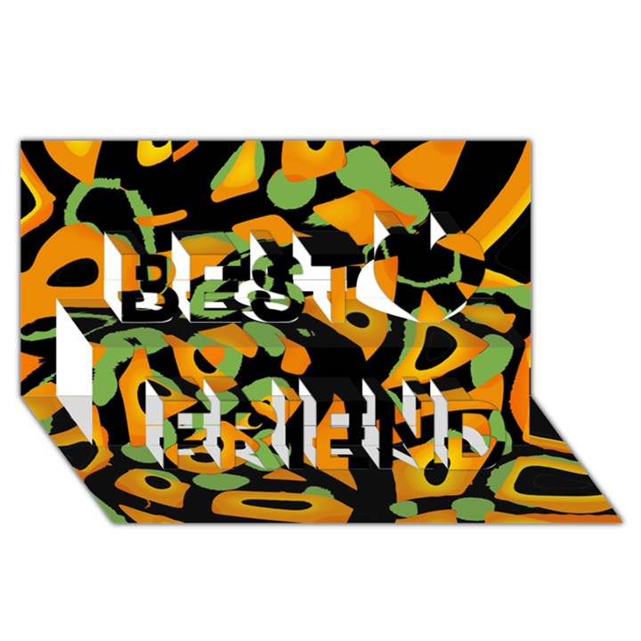 Abstract animal print Best Friends 3D Greeting Card (8x4)