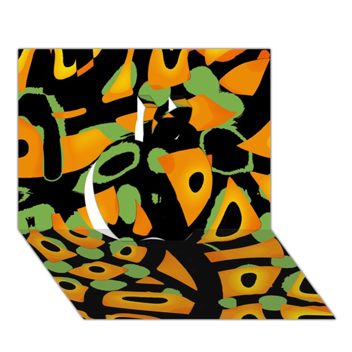 Abstract animal print Apple 3D Greeting Card (7x5)