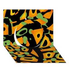 Abstract animal print Circle 3D Greeting Card (7x5)