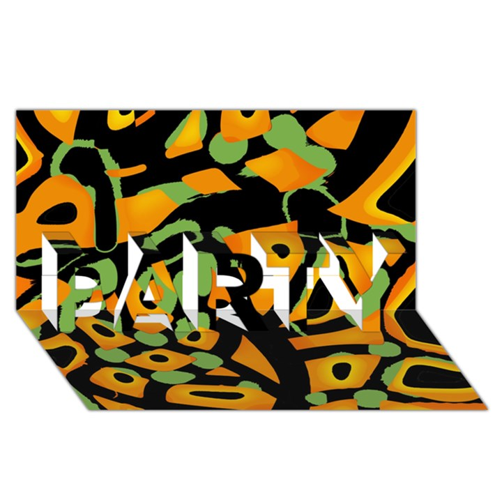 Abstract animal print PARTY 3D Greeting Card (8x4)