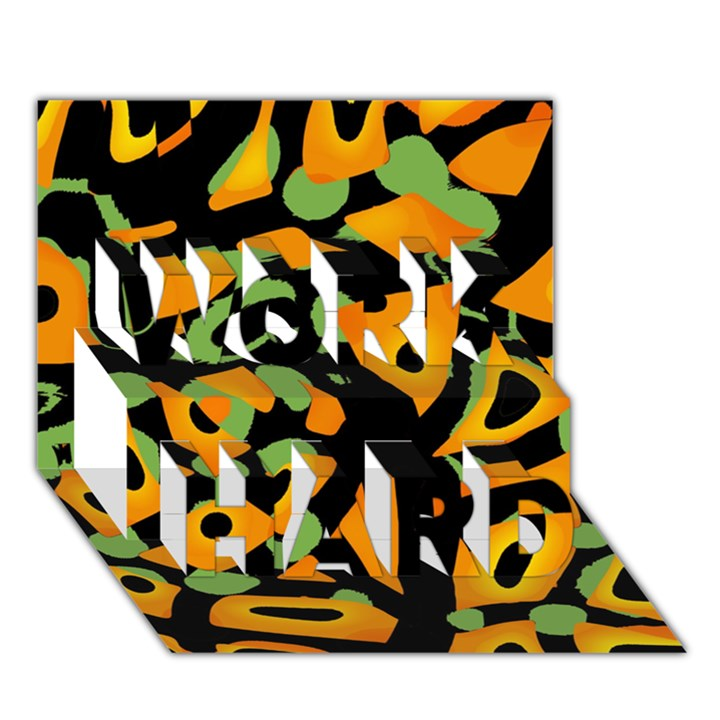 Abstract animal print WORK HARD 3D Greeting Card (7x5)