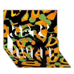 Abstract Animal Print Get Well 3d Greeting Card (7x5)