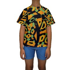 Abstract Animal Print Kids  Short Sleeve Swimwear