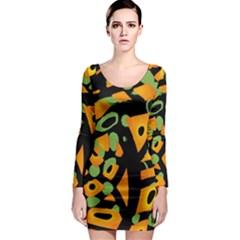 Abstract animal print Long Sleeve Bodycon Dress