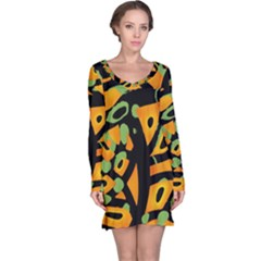 Abstract animal print Long Sleeve Nightdress