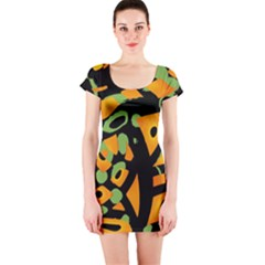 Abstract Animal Print Short Sleeve Bodycon Dress by Valentinaart