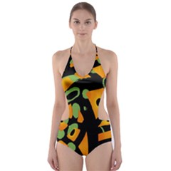 Abstract Animal Print Cut Out One Piece Swimsuit