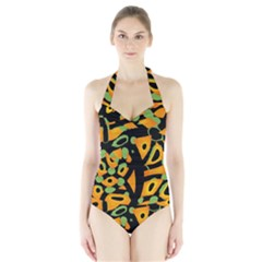 Abstract Animal Print Halter Swimsuit