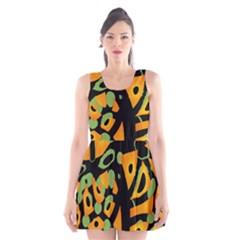 Abstract animal print Scoop Neck Skater Dress