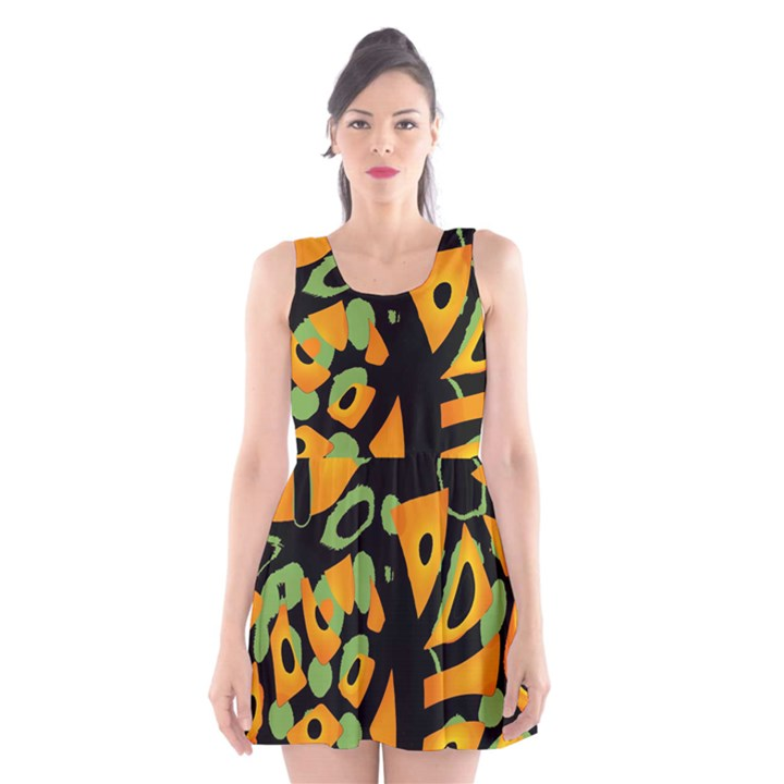 Abstract animal print Scoop Neck Skater Dress