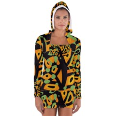 Abstract Animal Print Women s Long Sleeve Hooded T Shirt