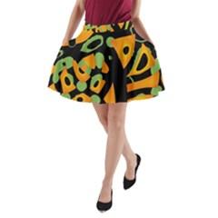 Abstract animal print A-Line Pocket Skirt