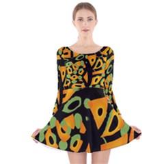 Abstract animal print Long Sleeve Velvet Skater Dress