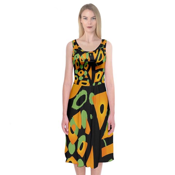 Abstract animal print Midi Sleeveless Dress
