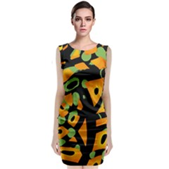 Abstract Animal Print Classic Sleeveless Midi Dress